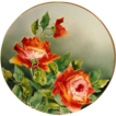 Illuminating 12 3/8 French Faience / Majolica Charger with Red Roses ~ KELLER & GUERIN - ERNEST BUSSIERE (Nancy, France) - ca. 1890s - 1930s