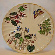 SALE Wonderful English Earthenware Plate ~ Polychrome Flowers, Fern and Butterfly ~ T Fell & C