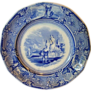 SALE Fantastic old English Blue and White Transferware 12 sided Plate ~ Colonna Pattern ~ T Go