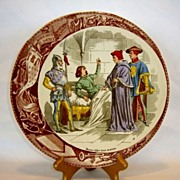 SALE Great Sarreguemines France (Jeanne) Joan Of Arc In Prison Faience Plate / Plaque � Utzsch