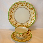 SALE Elegant Limoges Porcelain Trio of Cup, Saucer & Plate ~ Hand Painted with Raised Gold & S