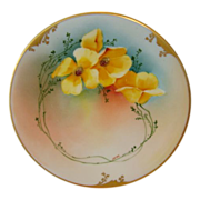 Bright & Beautiful Limoges Porcelain Plate ~ Hand Painted by Pickard Studios with Yellow Poppi