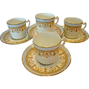 SALE 4 - Beautiful English Demitasse Cup and Saucer Sets ~ Aynsley England ca.~1883