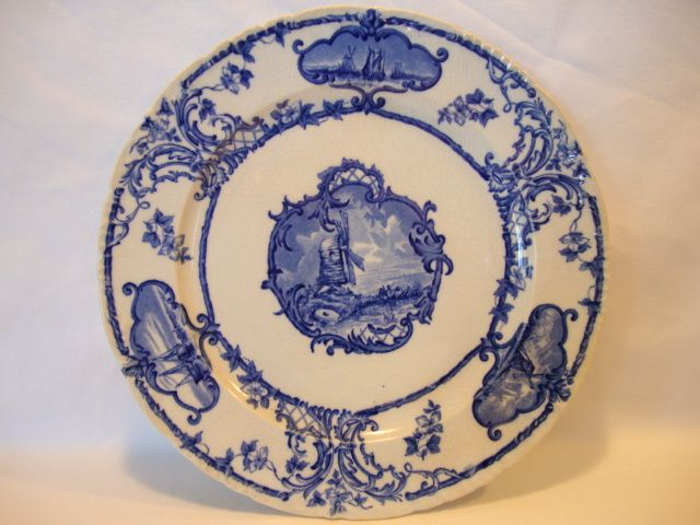 Beautiful Earthenware Blue & White Plate with Ships and Windmills ~ DELFTLAND ~ Brown-Westhead & Moore Cauldon England 1862-1904