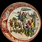 SALE Great Sarreguemines France Faience (Jeanne) Joan Of Arc Going to see the King Plate ...