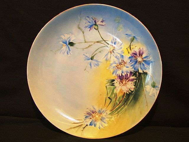 Attractive Limoges Porcelain Cabinet Plate ~ Decorated with Blue Bachelor Buttons Flowers ~ Mavaleix Limoges 1908-1914