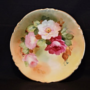 SALE Beautiful Pickard Decorated Plate~ Limoges Porcelain ~ Hand Painted with Pink and Red Ros