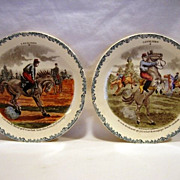 SALE 2 Great Horse Plates ~ Cavalier Series #2 #6 ~  Hautin & Boulengar ~ H B & Cie ~ Choisy L