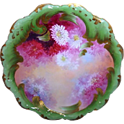 SALE A. Bronssillon Limoges Masterpiece of Burgundy, Pink & White Chrysanthemums Hand Painted