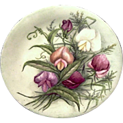 SALE Limoges Porcelain Plate  ~ Hand Painted with highly detailed Orchids of Pink, Purple and