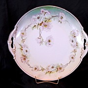 SALE Open Handled Austrian Porcelain Cake Plate Decorated White Poppies ~ MZ Austria (Moritz Z