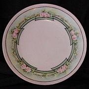 SALE Wonderful Plate ~Art Nouveau ~Limoges Porcelain ~ Hand Painted with Delicate Pink Roses ~