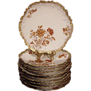 SALE Set of (10) Limoges Porcelain Luncheon Plates ~ Rococo Rim ~ Rust & Burnt Orange Colored 