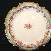 SALE Magnificent Limoges Porcelain Cabinet Plate ~ Hand Painted with Dainty Pink & White Rose