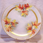 SALE Wonderful Bavarian Porcelain Charger 12 �� ~ Hand Painted with Gorgeous Fall Colored Oak