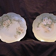 SALE A Beautiful Pair of Limoges Porcelain Plates ~(2) Hand Painted with Yellow White Roses ~