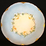 SALE Wonderful Bavarian ~ Porcelain Cabinet Plate ~ Hand Painted Baby Blue with Yellow Roses~