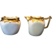 Wonderful Bavarian Sugar Creamer Set Decorated by Stouffer ~ Gold on White ~ Stouffer 1920's+