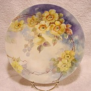 SALE Wonderful Limoges Porcelain Cabinet Plate ~ Hand Painted with Wild Yellow Roses ~ Artist