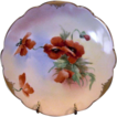 "Vibrant ~ Porcelain Cabinet Plate ~ Pickard Studio Decorated,Mark 4 ca.-1905. Vibrant Orange Poppies ~ By Artist ""Florence James"""