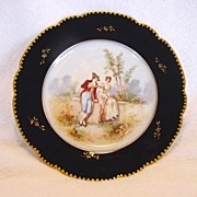 SALE Gorgeous Porcelain Portrait Plate with a Courting Scene ~ Cobalt Blue & Gold Rim ~ Limoge