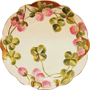 SALE Wonderful ~ Limoges Porcelain ~ Cabinet Plate ~ Hand Painted with Pink Clovers ~ Flambeau