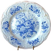 SALE English Blue and White Floral Pottery Cabinet Plate ~ 253+ YEARS OLD(really) ~ John Turne
