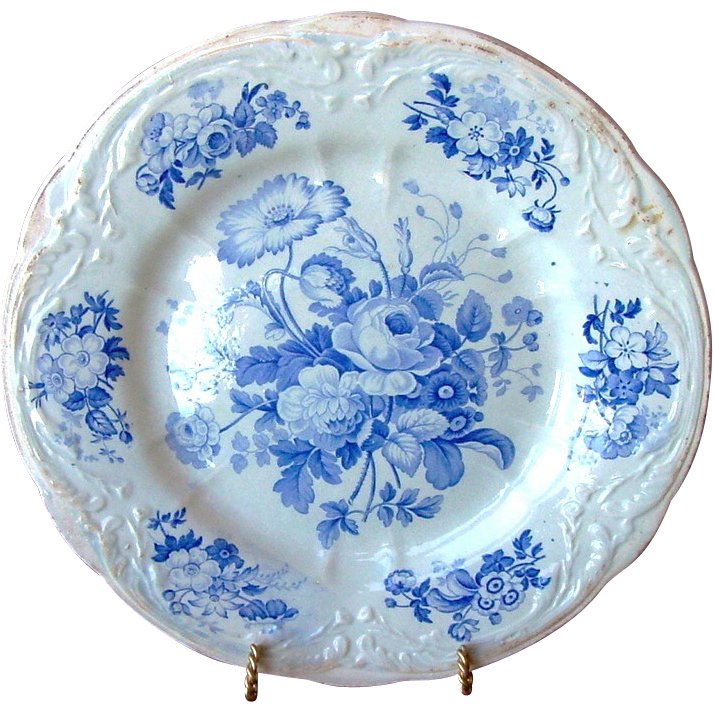 English Blue and White Floral Pottery Cabinet Plate ~ 253+ YEARS OLD(really) ~ John Turner England ~ Ca 1756-1780