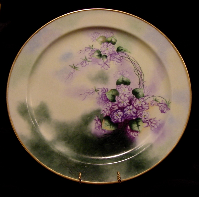 "Exceptional 13 ¾"" Limoges Porcelain Charger / Tray ~ Hand Painted with Purple African Violets ~ Artist Signed ~ Haviland France 1894-1931"
