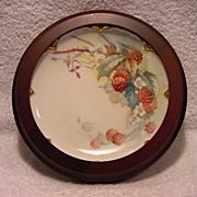 SALE Refreshing Limoges Porcelain Cabinet Plate in wood frame ~ Hand Painted with Luscious Red