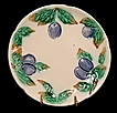 Wonderful Old Majolica Cabinet Plate Decorated with Cobalt Blue Plums ~ (U & C.S.) UTZCHNEIDER & CO Sarreguemines 1865-1891