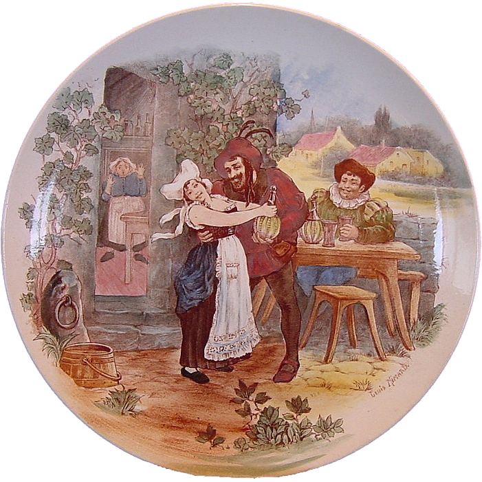 "Wonderful 11"" French Figural Scene Plate / Wall Plaque by Louis Mimard ~  H Boulenger & CO France 1900+"