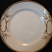 SALE Brilliant White Limoges Porcelain Cake Plate with Gold Accents~ Haviland & Co 1888-1896