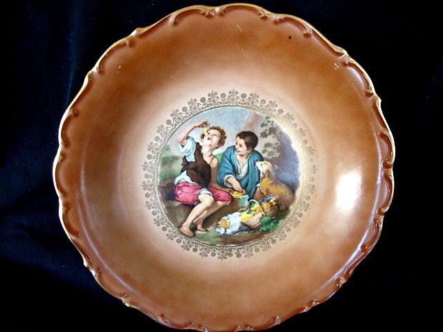 "Nice 11 ¼"" Bavarian / German Porcelain Wall Charger ~ Rendition of the Melon  or Dice Boys ~ CARL SCHUMANN Bavaria / Germany 1960-1970"