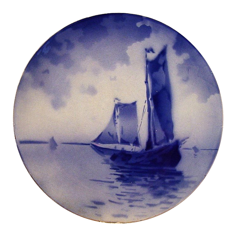 Unique French Faience Cabinet Plate / Plaque ~ Ships on Water ~ Keller & Guerin ~ Luneville France 1890-1914