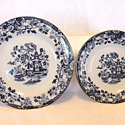 SALE 2 - Grand English Cobalt Blue Transferware Plates ~ Indiana Pattern Asian Design ~ G ...