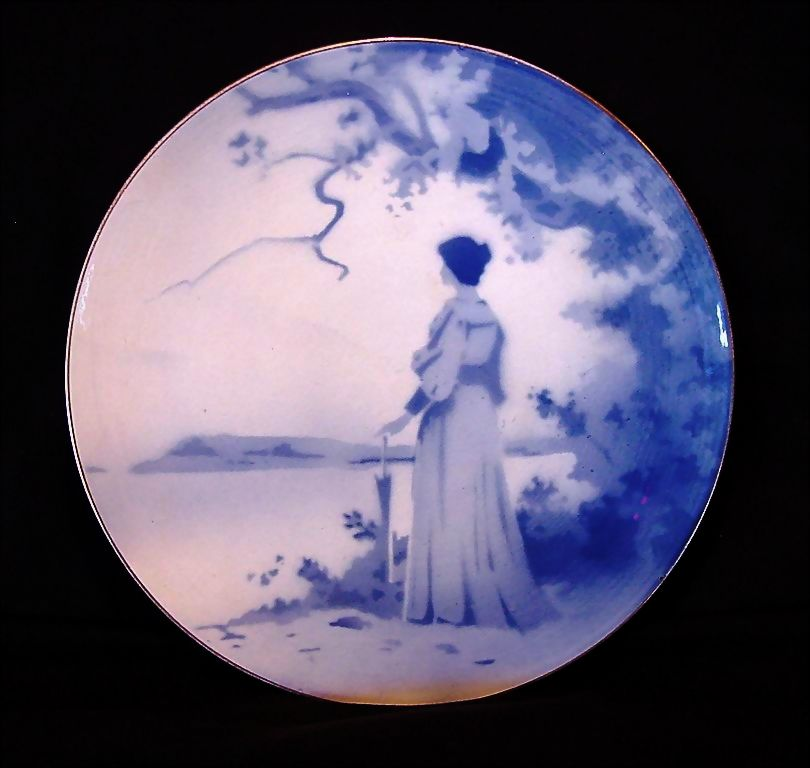 Awesome French Faience Tin Glaze Cabinet Plate / Plaque ~ Victorian Woman in Blue ~ Keller Guerin Luneville France 1890 - 1914
