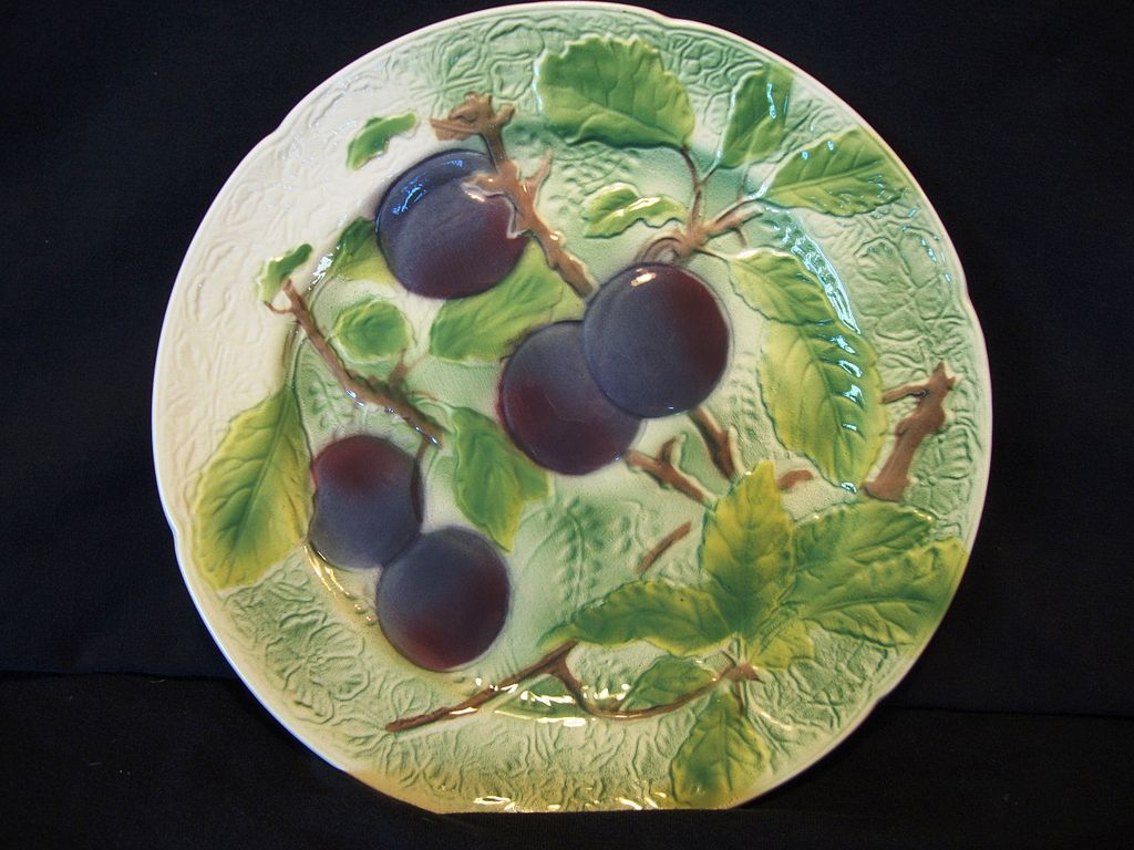 Nice French Majolica Faience Plate with Purple Plums~ St Clements, France
