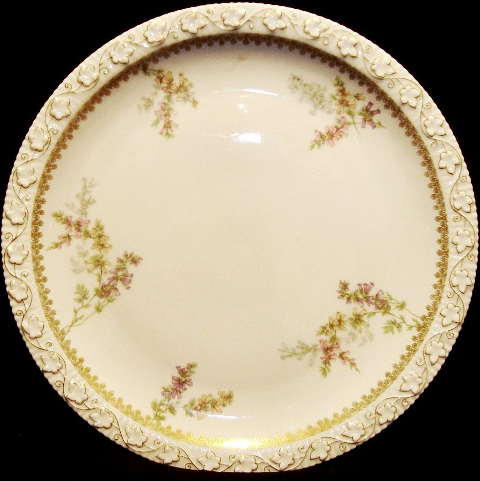 "Beautiful 12 ¼"" Limoges Porcelain Charger / Tray ~ Factory Decorated with Pink, Violet and Yellow Flowers ~ Tressemann & Vogt ( T&V ) 1902-1907"