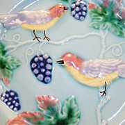 "SALE Awesome 8 1/2"" German Majolica Plate ~ Decorated with Birds, Grapes & Vines ~ ..."