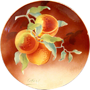 SALE Wonderful Majolica Cabinet Plaque / Plate with Gorgeous Peaches ~ Signed Obert ~ KELLER &