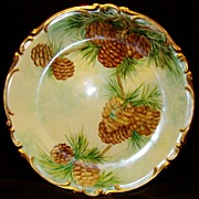 SALE Amazing Bavarian Porcelain 12 � � Charger ~ Hand Painted with Pine Cone Motif ~ Artist Si