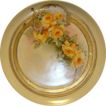 Exceptional Limoges Porcelain Cabinet Plate ~ Hand Painted with Gold and Yellow Roses ~ Haviland & Co France 1894-1931