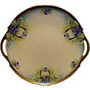 SALE Amazing 11� Limoges Porcelain Cake Plate ~ Hand Painted with Purple Violets ~ Limoges Fra