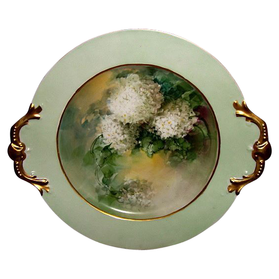 "Stunning 14"" Antique Limoges Porcelain Double-Handle Art Plate / Cabinet Plate  ~ Hand Painted with White Hydrangea ~Tressemann & Vogt T&V France 1907-1919"