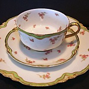 SALE Delicate Limoges Porcelain Trio Set ~ Cup, Saucer and Plate ~ Factory Decorated ~ Peridot