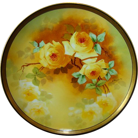 Masterpiece by `A. Bronsillion ' ~ Limoges Porcelain Plate ~ Hand Painted with Yellow Roses ~ Signed ~ PM Mavaleix / Coronet 1908-1920