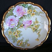 SALE Awesome 12 �� Limoges Porcelain Charger ~ Hand Painted with White with Pink Roses and Yel