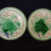 SALE (2) Wonderful Majolica Plates with Leaf and Fern Design.