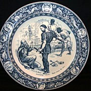SALE Rare English Blue and White Cabinet / Dinner Plate ~ Ivanhoe ~ Wedgwood England  Late 180